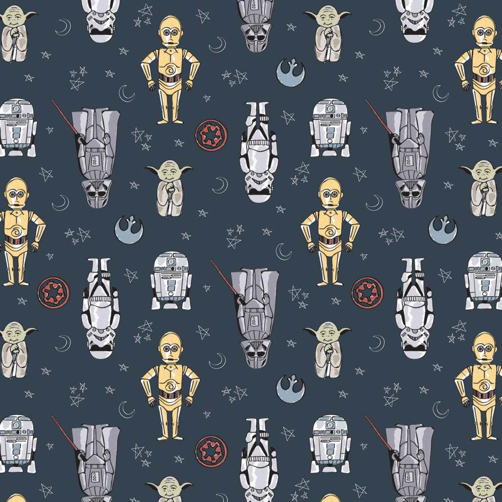 Star Wars Doodle Classic Movie Cotton Fabric R2D2 C3PO Yoda Darth Vader Stormtrooper