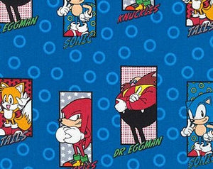 Sonic the Hedgehog and Friend Cotton Video Game Fabric SEGA