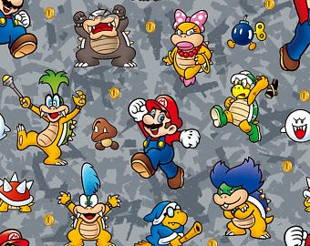 Nintendo Super Mario Brothers Mario Power Cotton Fabric Characters
