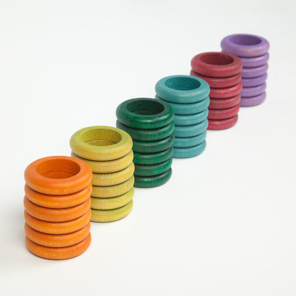 Grapat Wood Coloured Rings, 36 pcs (6 non-basic colours)