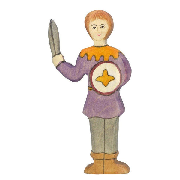 Holztiger youth with purple shirt, sword & shield