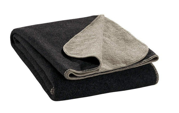 double-faced wool blanket, anthracite & grey