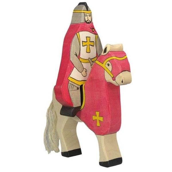 Holztiger red knight with cloak, riding atop horse