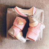 'Snowberry' leather & wool booties, 2-3 yrs