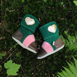 'Aspen' leather & wool booties, 2-3 yrs