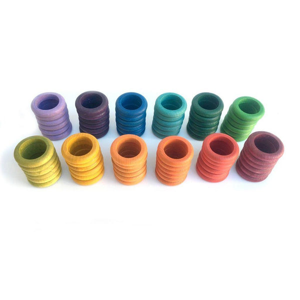 Grapat Wood Coloured Rings, 72 pc (12 colours)