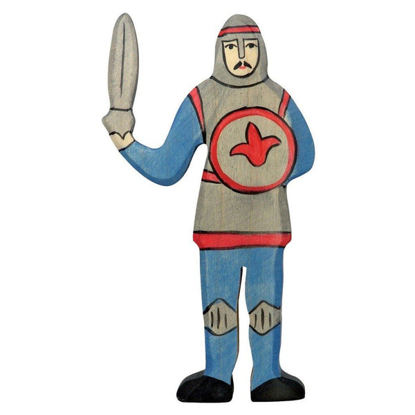 Holztiger blue knight standing with sword