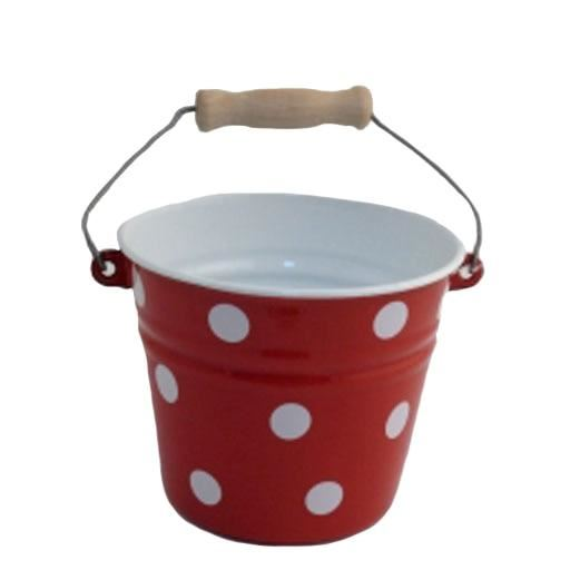 red polka dot child's pail