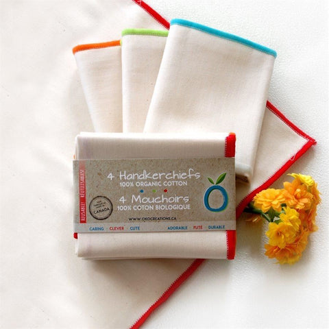 organic cotton handkerchiefs, 4-pack