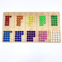 reversible 11-20 board, with wool balls