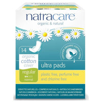 NatraCare Organic Cotton Ultra Pads with Wings, Regular 14 ct