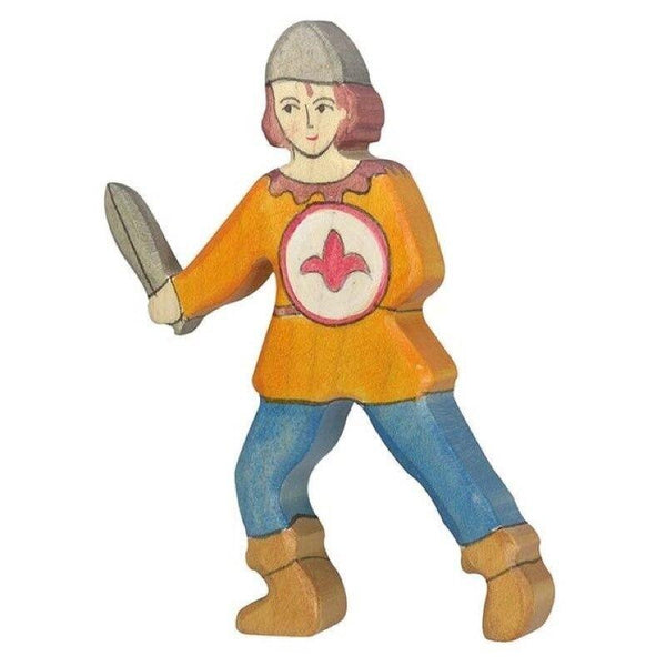 Holztiger youth with orange shirt, sword & shield