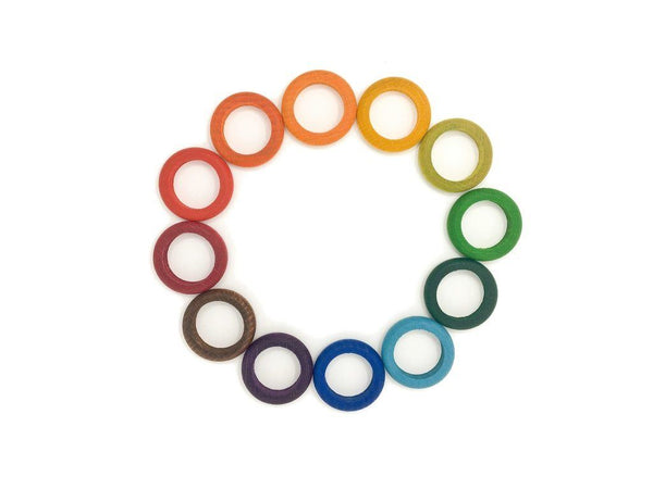 Grapat Wood Coloured Rings, 12 pc (12 colours)