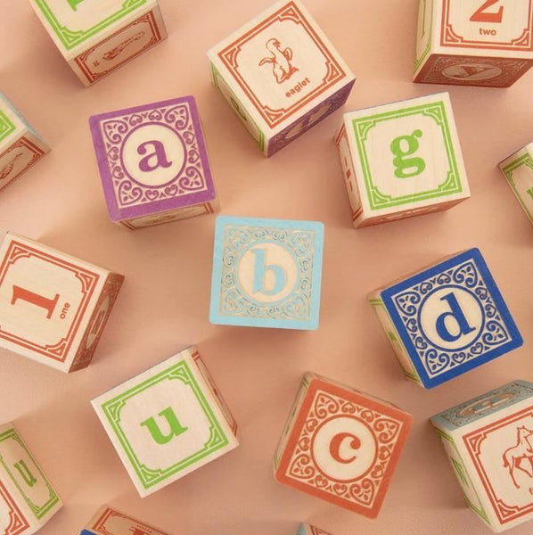 classic lower case alphabet blocks