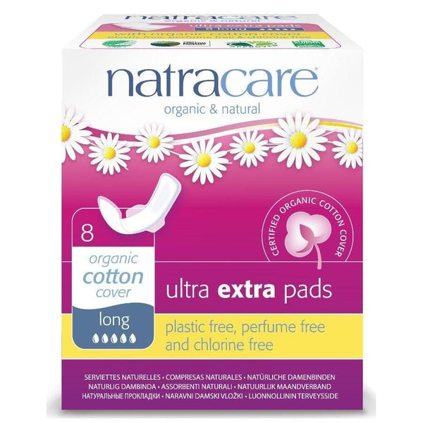 NatraCare Organic Cotton Ultra Extra Pads with Wings, Long 8 ct