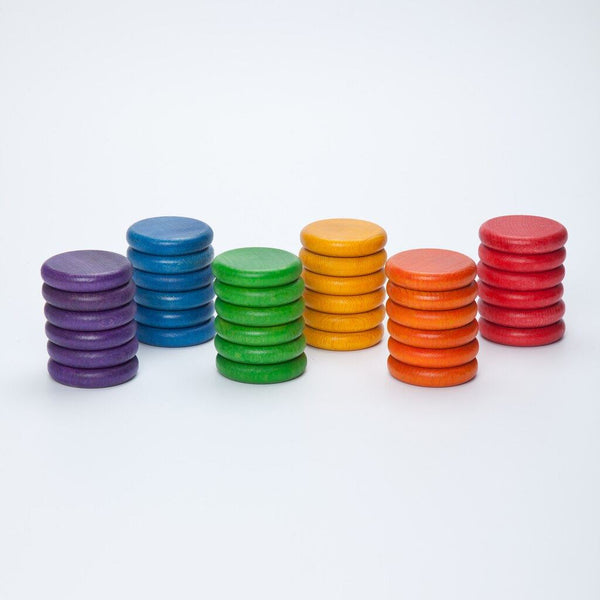 Grapat Wood Coloured Coins, 36 pc (6 colours)
