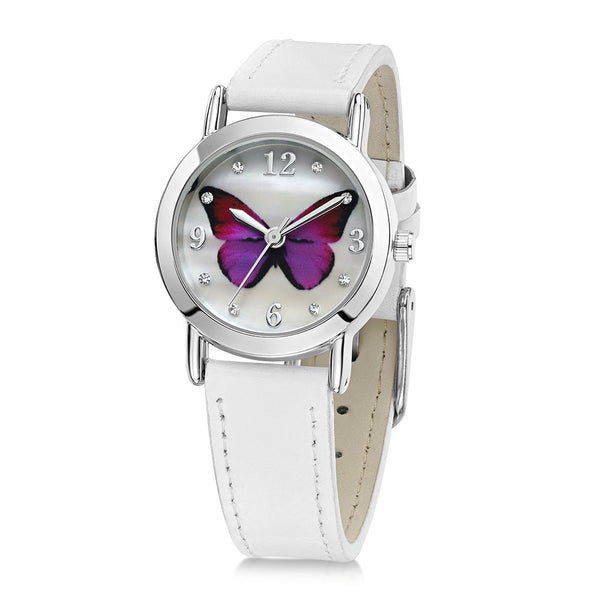 chid's purple butterfly watch with white leather strap and inset cubic zirconias