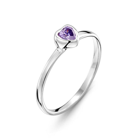 purple heart ring, cubic zirconia, children's jewellery