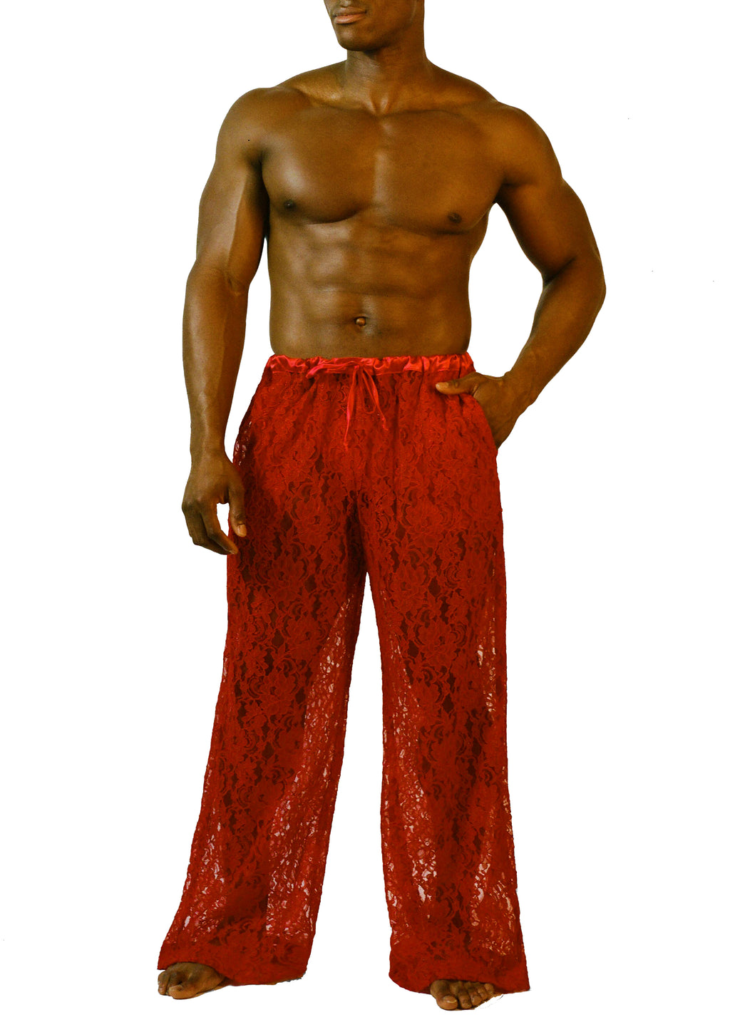 DRAWSTRING PANT in RED LACE - MENAGERIÉ Intimates