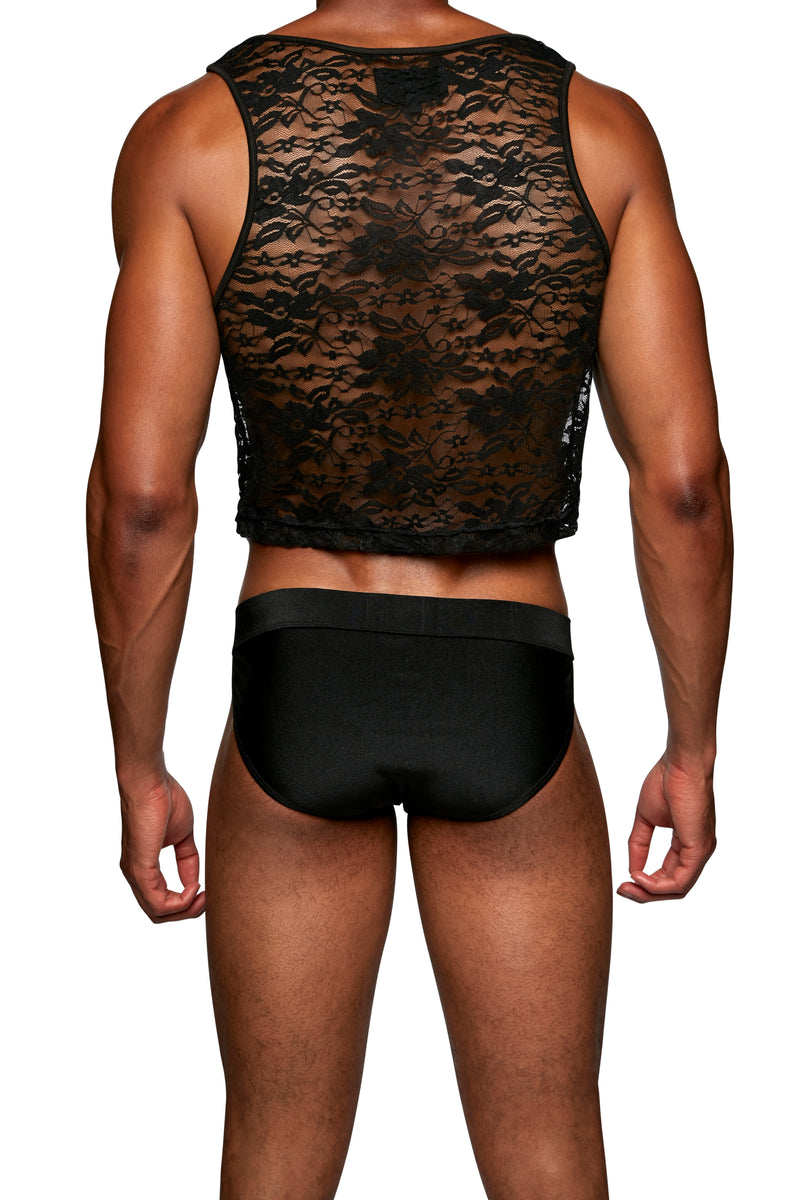 CROPPED TANK in LACE SPANDEX - MENAGERIE Intimates MENS Lingerie