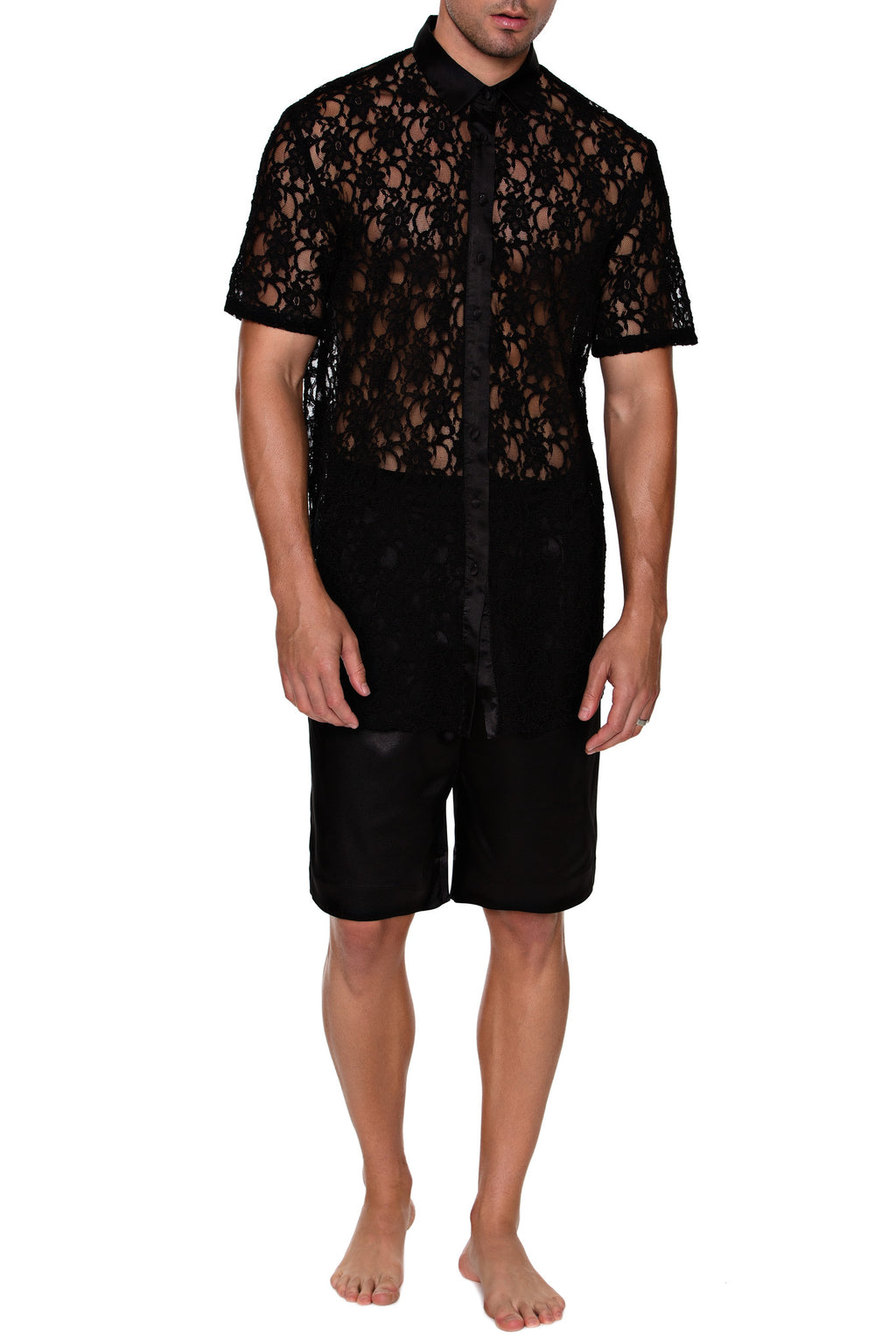 Button Up Shirt - Short Sleeve  (LACE) - MENAGERIE Intimates MENS Lingerie