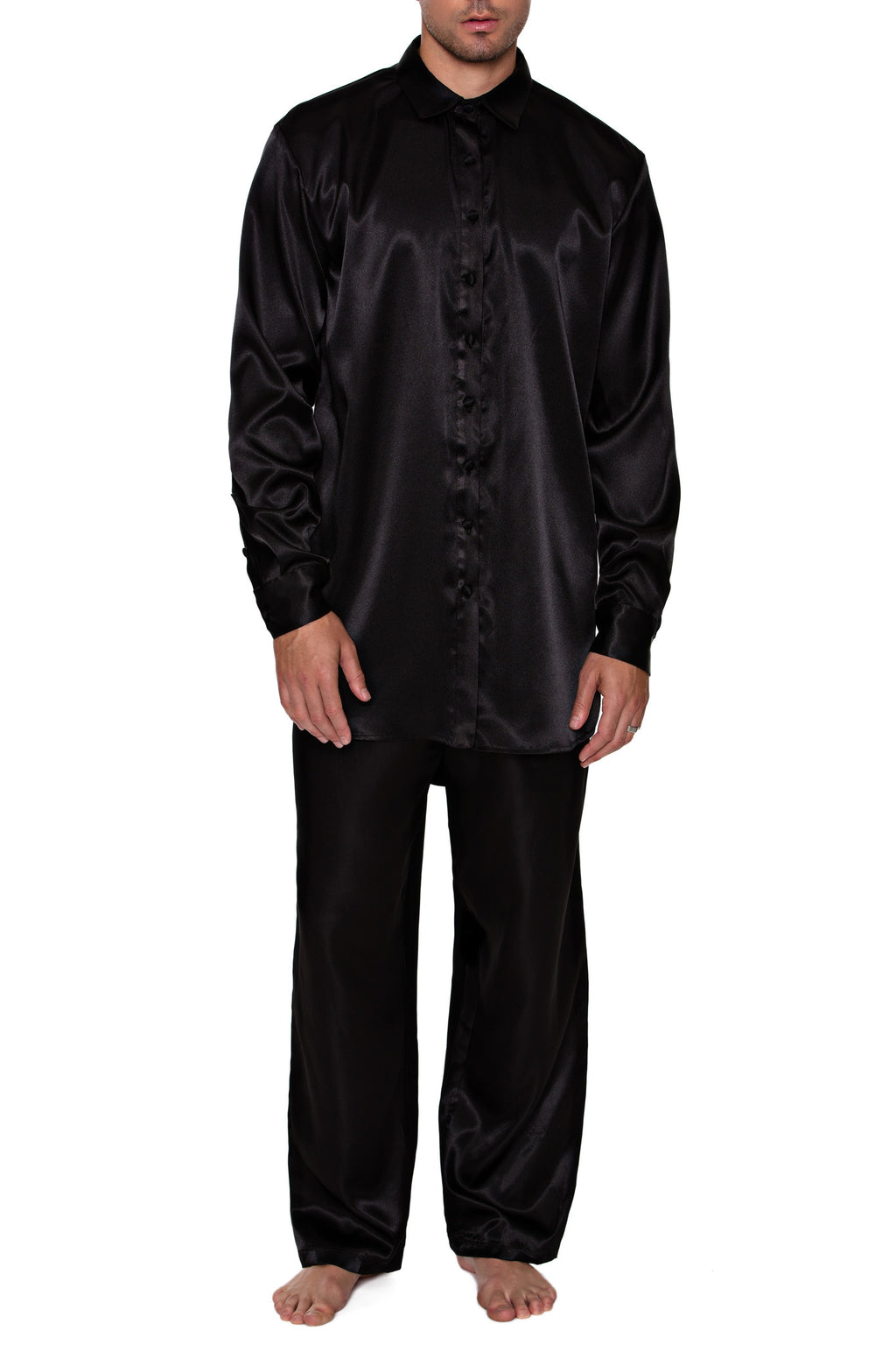 BUTTON DOWN SHIRT in SATIN - MENAGERIE Intimates MENS Lingerie