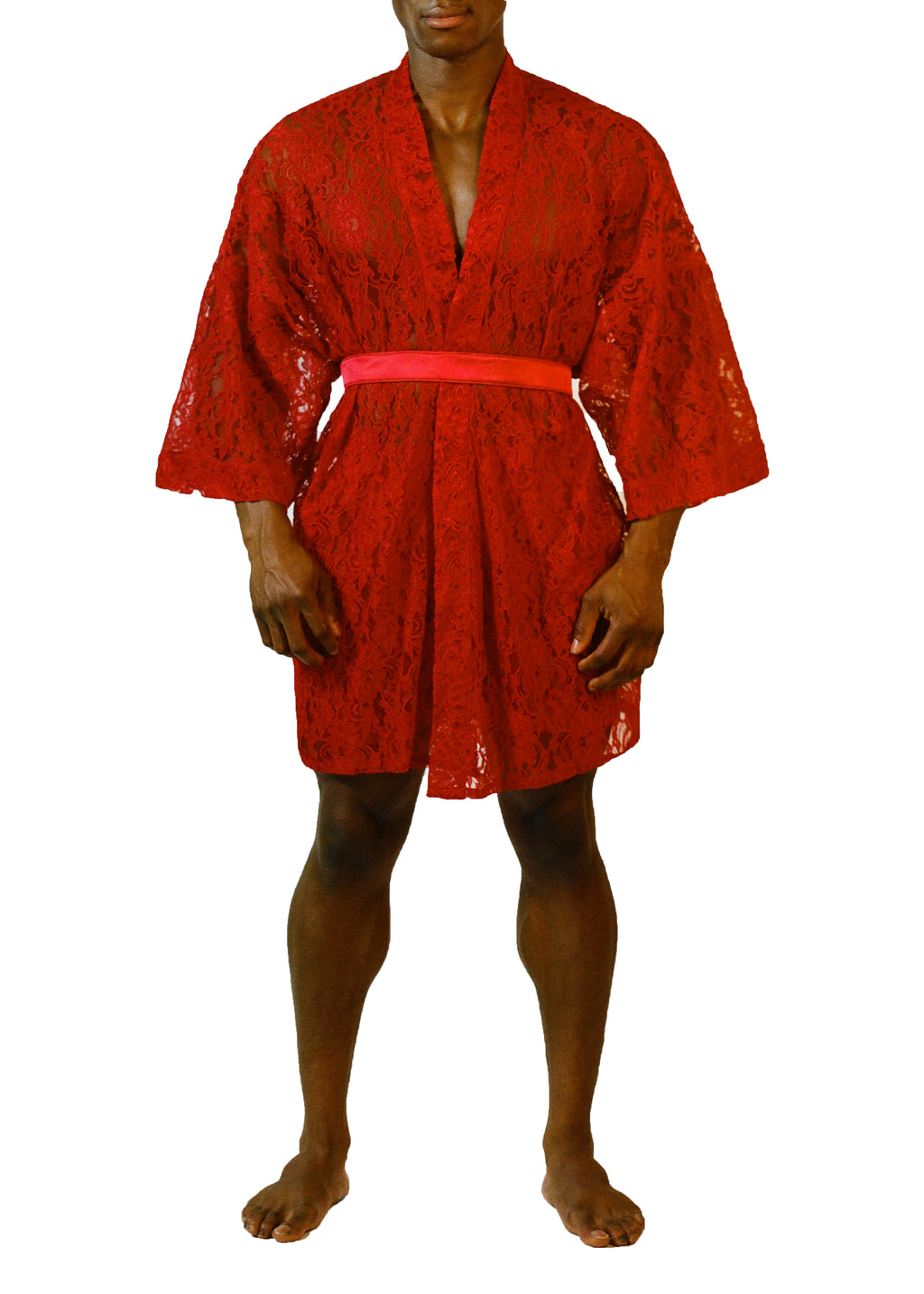 KIMONO ROBE in RED LACE - MENAGERIÉ Intimates