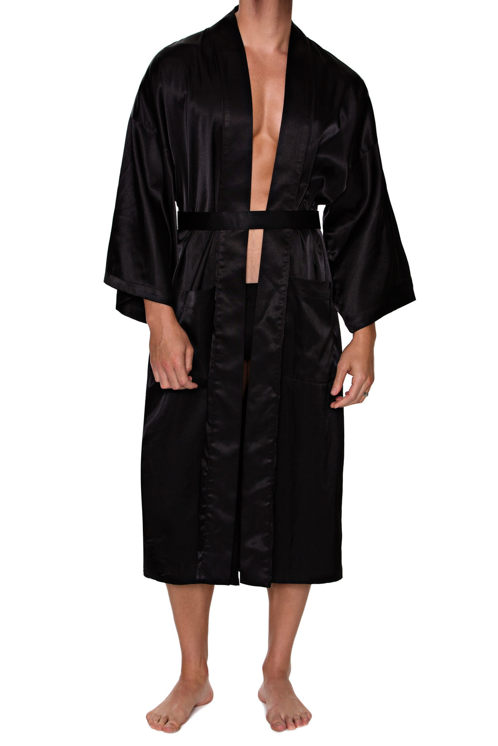 FULL LENGTH ROBE in SATIN - MENAGERIE Intimates MENS Lingerie