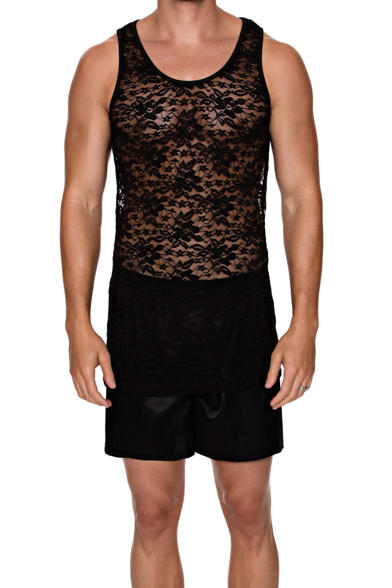TANK in LACE SPANDEX - MENAGERIE Intimates MENS Lingerie