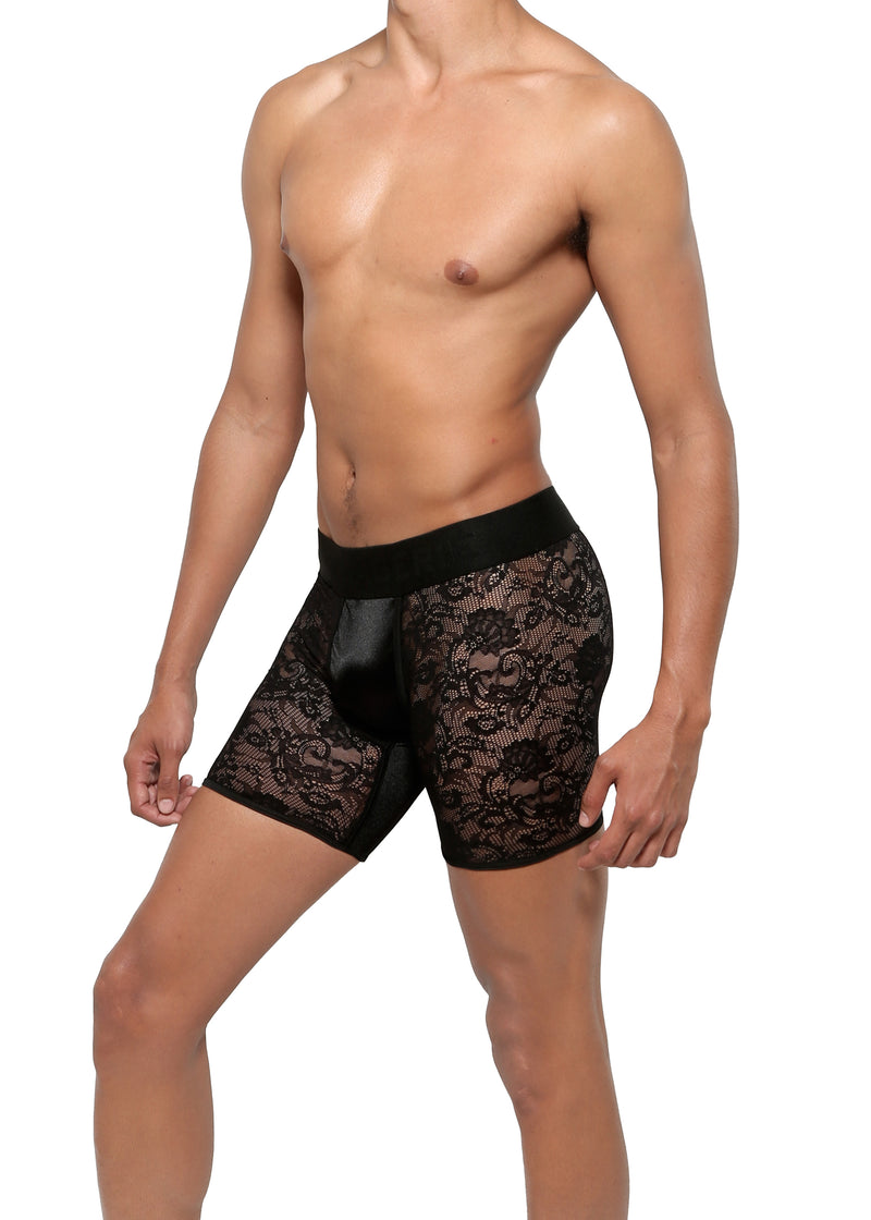 BOXER BRIEF in LACE SPANDEX - MENAGERIÉ Intimates