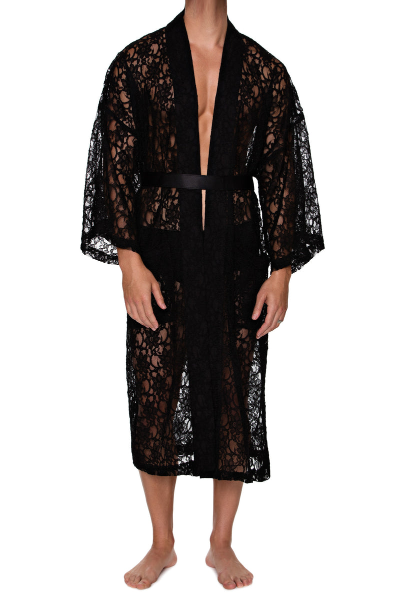 FULL LENGTH ROBE in LACE - MENAGERIE Intimates MENS Lingerie