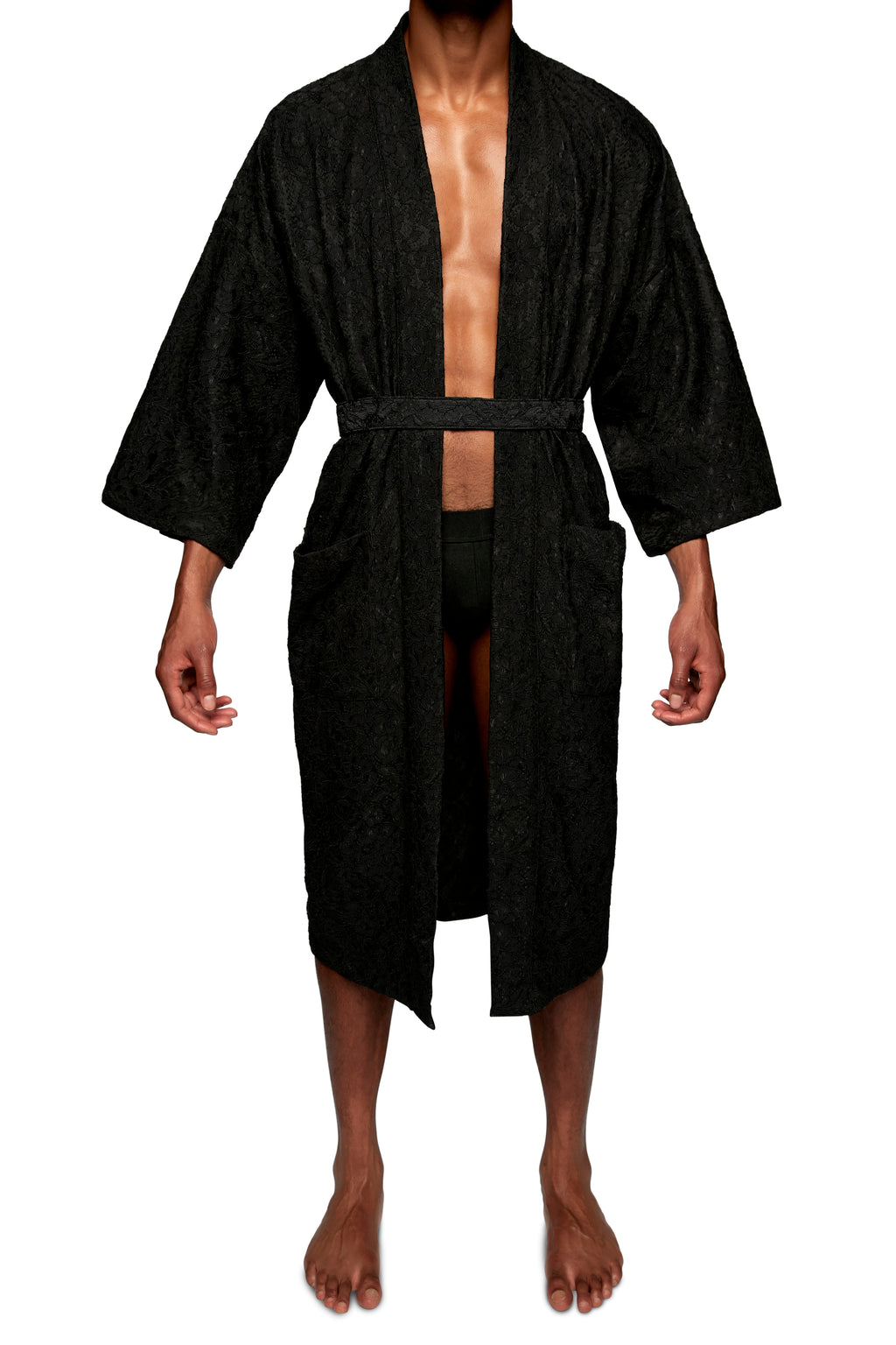 FULL LENGTH ROBE in LACE KNIT - MENAGERIE Intimates MENS Lingerie
