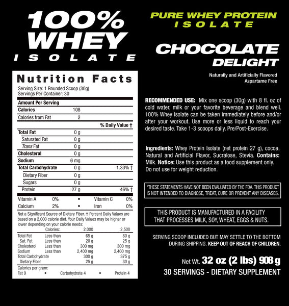 Whey Protein Isolate Chocolate Nutritional Facts