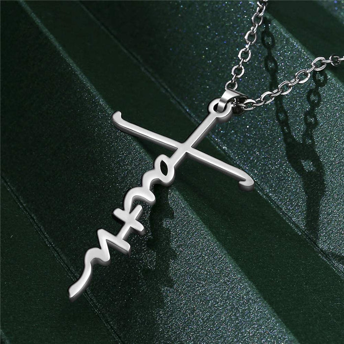 Silver Cross Faith Necklace,Stainless Steel