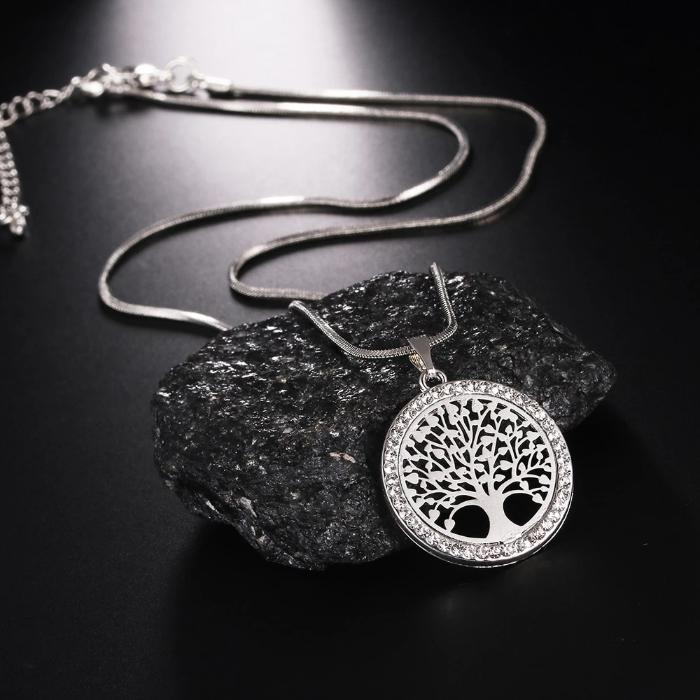 Tree of Life Crystal Round Pendant Necklace - full