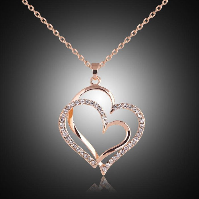 To my Love Double Heart Pendant,jewelry heart necklaces|Zirconia CZ