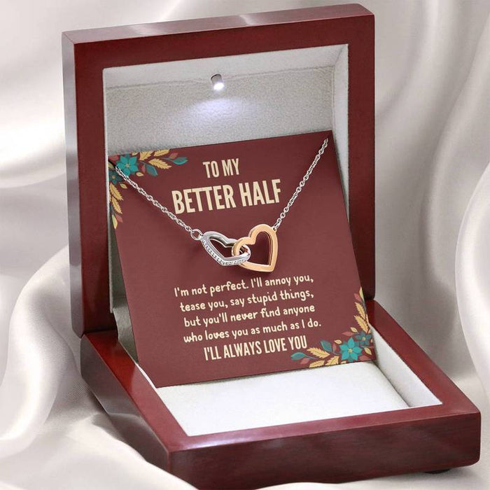 "TO MY BETTER HALF - ""I'M NOT PERFECT"" INTERLOCKING HEARTS 3D NECKLACE"