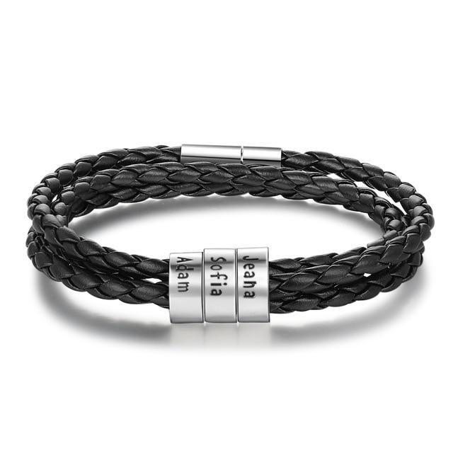 Personalized Engraved Braid Leather Bracelet