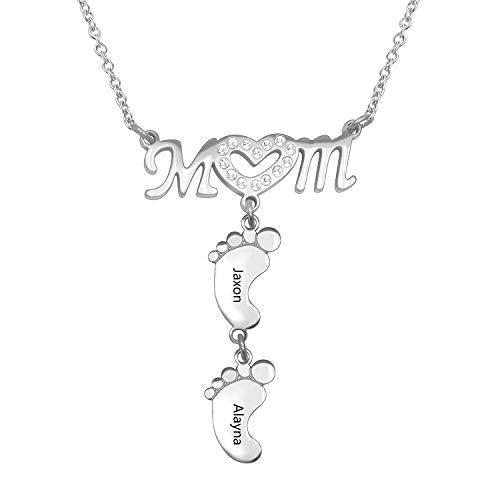 Personalized Custom Mom Necklace With Baby Feet Baby Feet Necklace