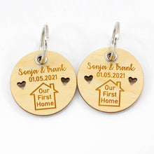 Load image into Gallery viewer, Pair of Personalised Our First Home Keyrings