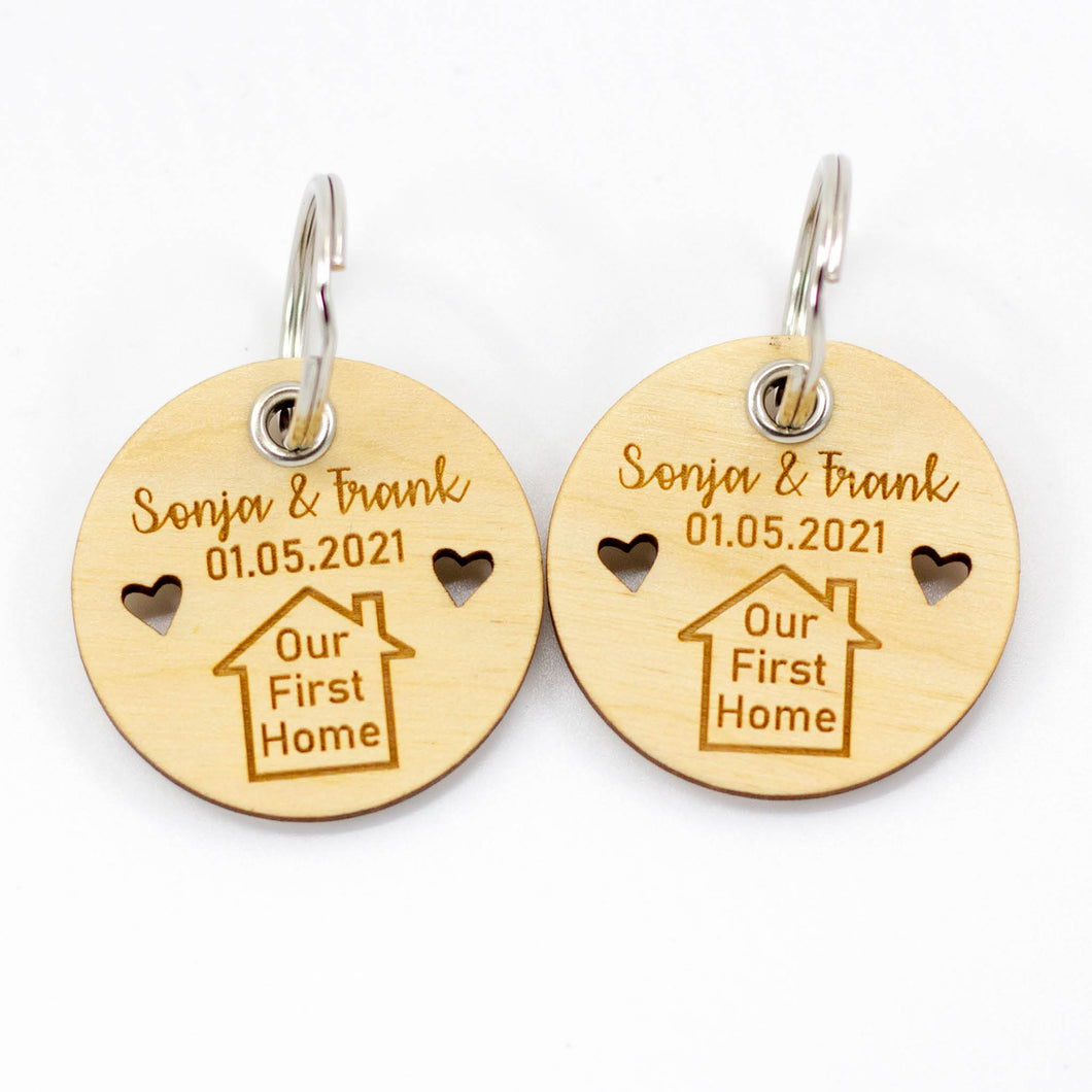 Pair of Personalised Our First Home Keyrings