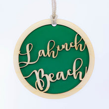 Load image into Gallery viewer, Personalised Round Hanging Sign with Green background | 15cm / 6 inch
