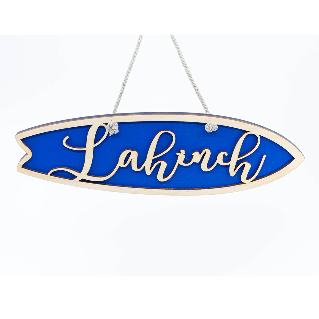 Blue Personalised Hanging Surfboard Sign