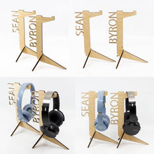 Load image into Gallery viewer, Personalised Wooden Headphone Stand