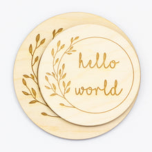 Load image into Gallery viewer, Hello World Sign | Photo prop for new born baby