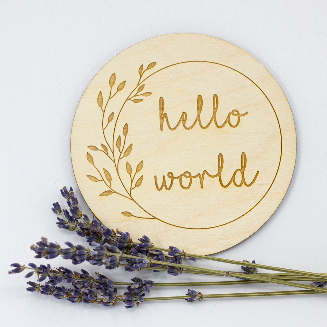 Hello World Sign | Photo prop for new born baby