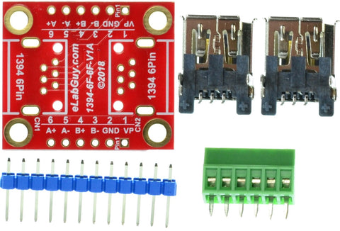 1394-6F-6F-V1A FireWire IEEE 400 6 pin Female to Female pass-through adapter breakout board