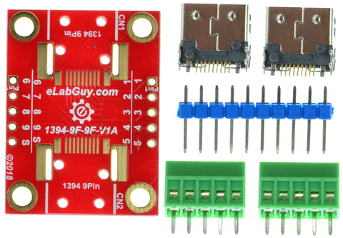 1394-9F-9F-V1A FireWire IEEE 400 9 pin Female to Female pass-through adapter breakout board