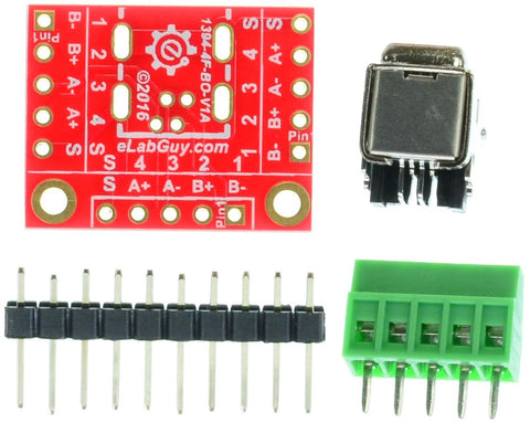 4 pin  FireWire  400 Female connector breakout board components