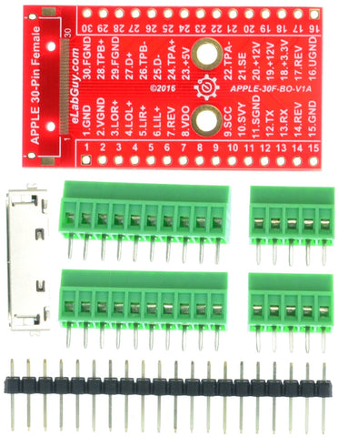 Apple 30-pin Female Connector breakout board components